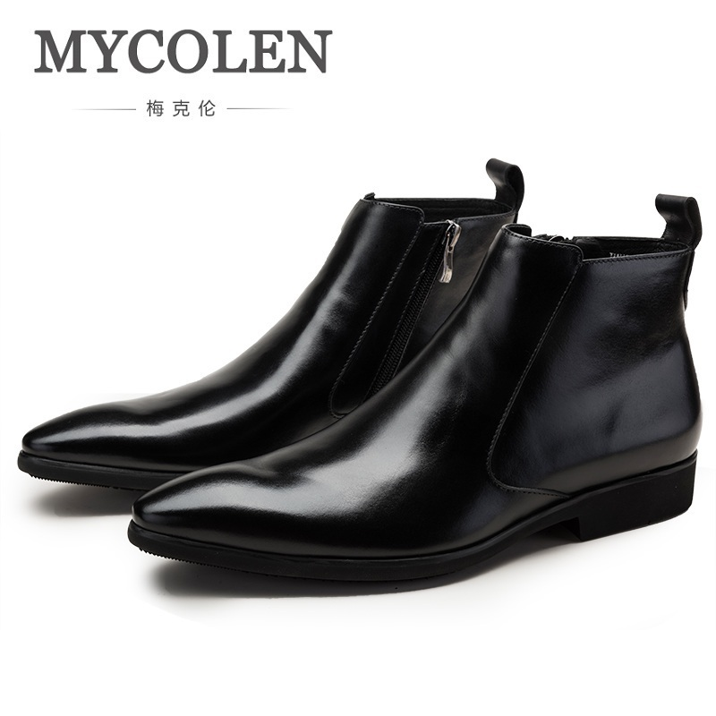 MYCOLEN Autumn Winter New Mens Genuine Leather Chelsea Boots Fashion Business Pointed Toe Zip Ankle Boots High Top Men Shoes mycolen spring autumn men genuine leather chelsea boots vintage pointed toe ankle outdoor boots wear resistant male shoes