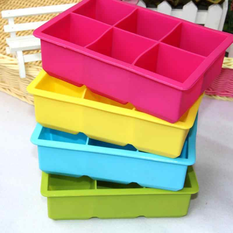 2015 Hot Sale 6-Cavity Large Silicone Drink Ice Cube Pudding Jelly Soap Mold Mould Tray Tools Ice Cream Makers