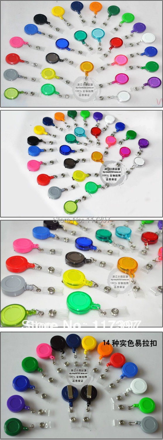 Free shipping wholesales ID holder tag card Round Solid Plastic Clip On Retractable Reel by DHL