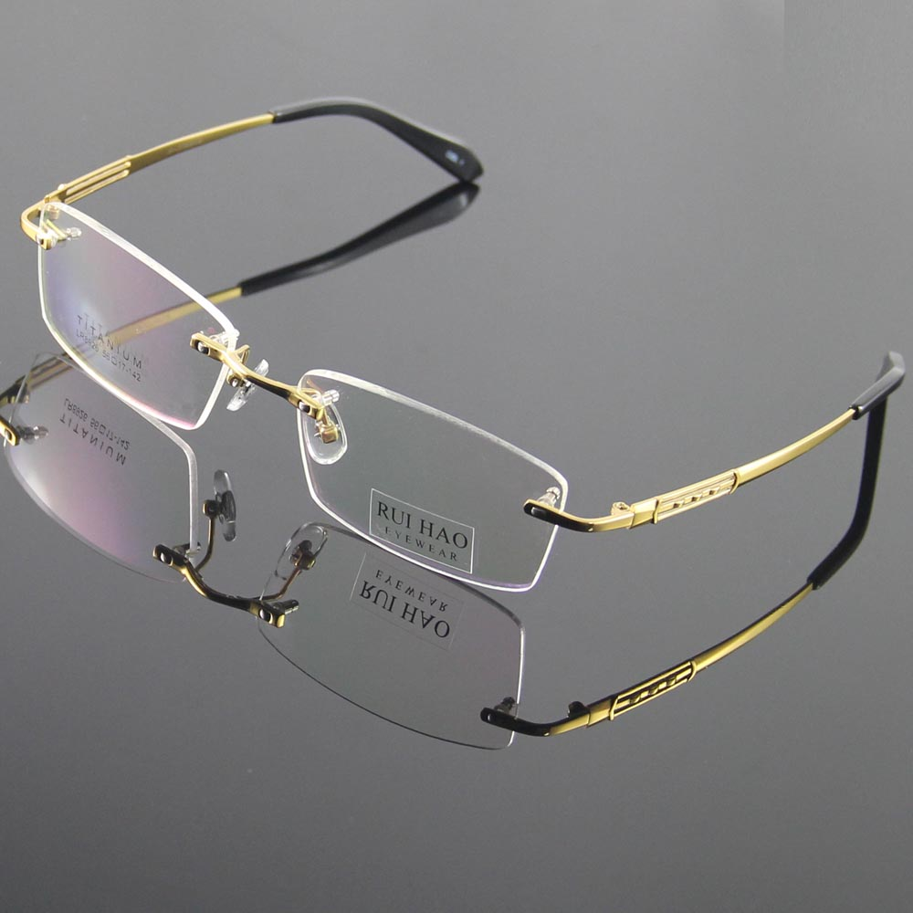 82f7b0ad2271 100% Titanium Eyeglasses Frame Eyeglasses Men Design Rimless Glasses  Optical Spectacles Eyewear Frames oculos of grau 8926