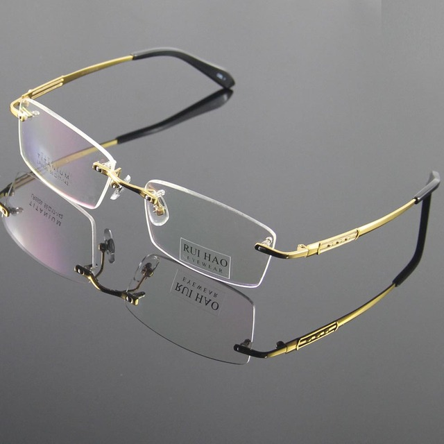 3ec28f2a08 100% Titanium Eyeglasses Frame Eyeglasses Men Design Rimless Glasses  Optical Spectacles Eyewear Frames oculos of