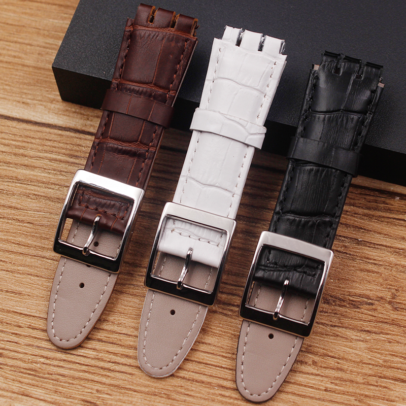 Watch Accessories Leather Strap For Swatch Concave Interface YRS YCS YTS401 402403G Sport 19mm 17mm Men's Strap