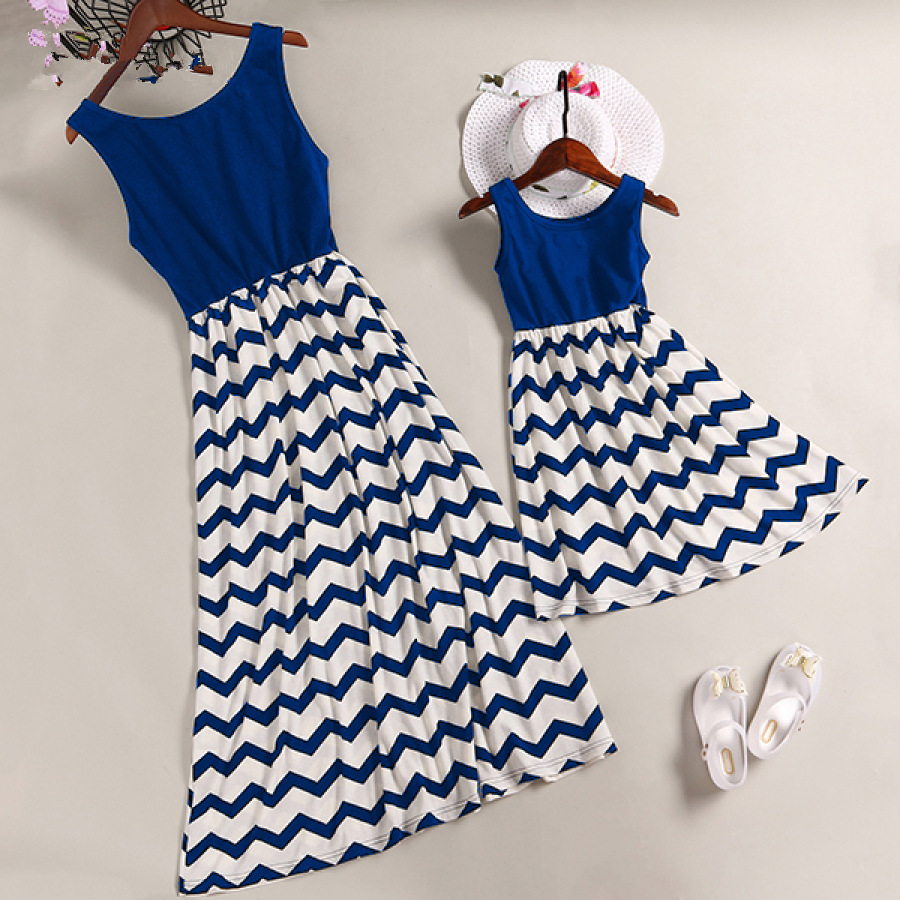 Mother Daughter Vest Dresses Mommy And Me Clothes Family Matching Outfits Look Mom Mum Mama And Daughter Summer Dress Clothing