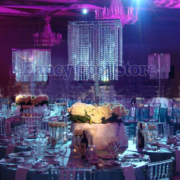 Pièce maîtresse de Table carrée de 80 cm de hauteur décoration de mariage en cristal