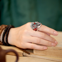 925 Silver Sterling Vintage Ring Lady Chinese Style Luckly Jewelry Womens Girls Wedding Rings Anillos Mujer