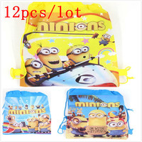 Minions 12Pcs Backpack Gift Bag Non Woven Fabrics Kid Bags Cute Cartoon Casual Style Back Packs