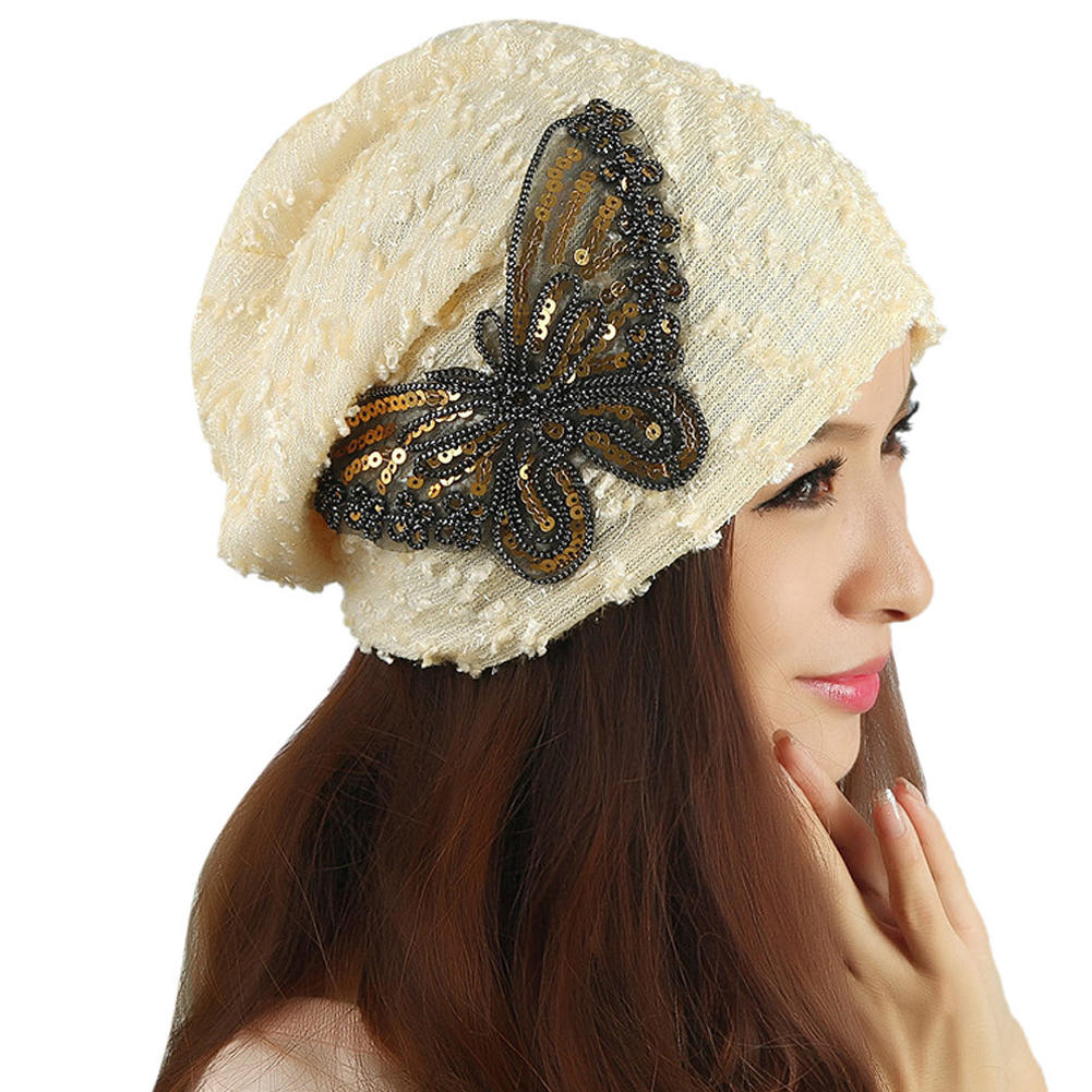 2017 Hot Winter Women's Butterfly Skullies Hat Female Crochet Warm Caps Soft Beanies Mujeres Girl Autumn Bone Gorro Bonnet touca skullies