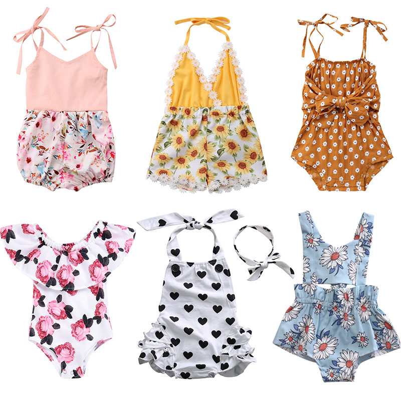 Cute Newborn Infant Baby Girls Rompers Summer Sleeveless Flower Baby Girls Clothing Jumpsuit Playsuit