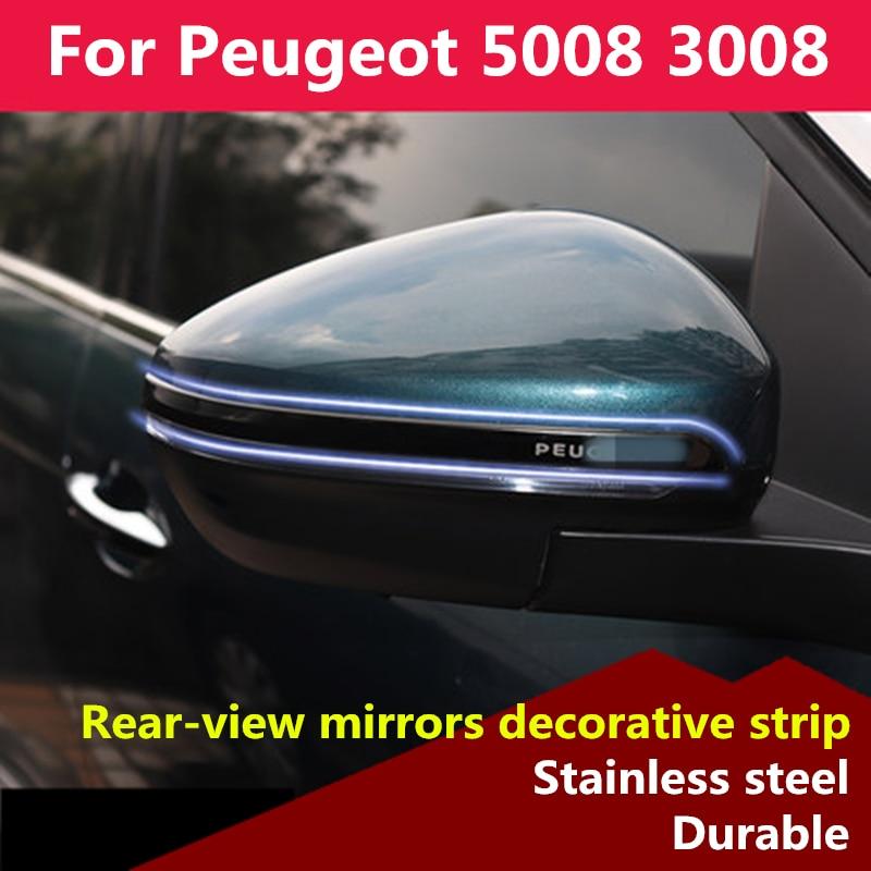 Dla Peugeot 5008 3008 2017 2018 2019 lusterka wsteczne pasek dekoracyjny dekoracji chromowane wykończenie zewnętrzne zewnętrzne wykończenia akcesoria