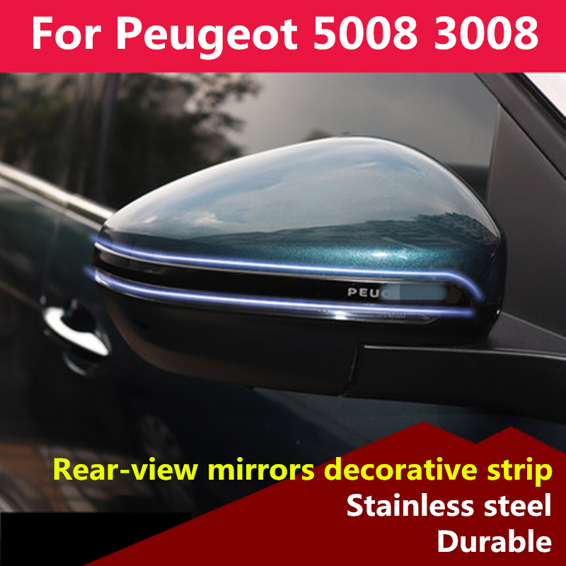 For Peugeot 5008 3008 2017 2018 2019 Rearview mirrors decorative strip Decoration Chrome Trim Exterior external Trim Accessories