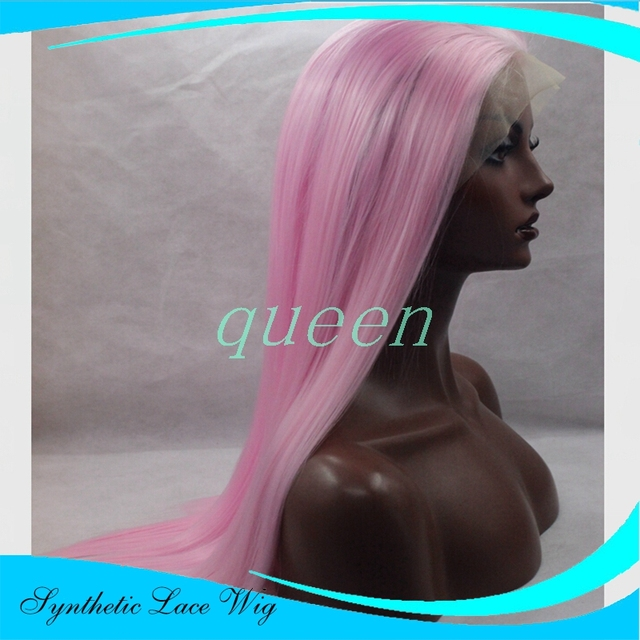 pelucas pelo natural pelucas Pastel pink wig top quality synthetic long pink wig Heat Resistance pink straight lace front wig