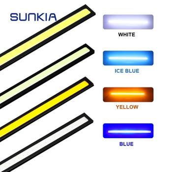 цена на SUNKIA 17CM COB DRL LED Daytime Running Light Auto Lamp External Lights For Universal Car 100% Waterproof Day Light Car Styling
