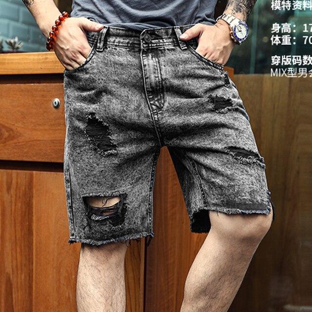 c84b17712e Grey Black Mens denim shorts ripped holes burr jeans metrosexual man summer  brand design fashion short jeans hip hops K781