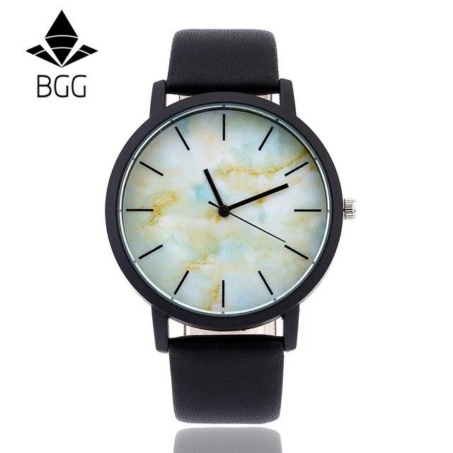 British style Marble Watches 2016 Hot Fashion Marbling Stripe Creative Quartz Watch Men Women Wristwatches Genuine Leather Clock