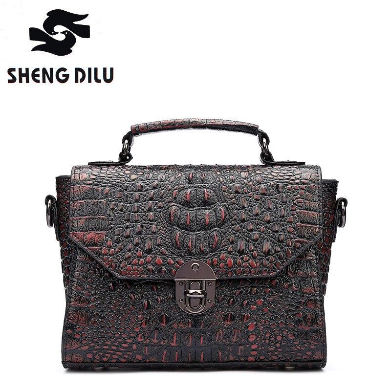 New Luxury Brands Unique Texture Alligator Genuine Leather Handbag Women's Real Leather Bag for Women Shoulder Bag Messenger Bag все цены