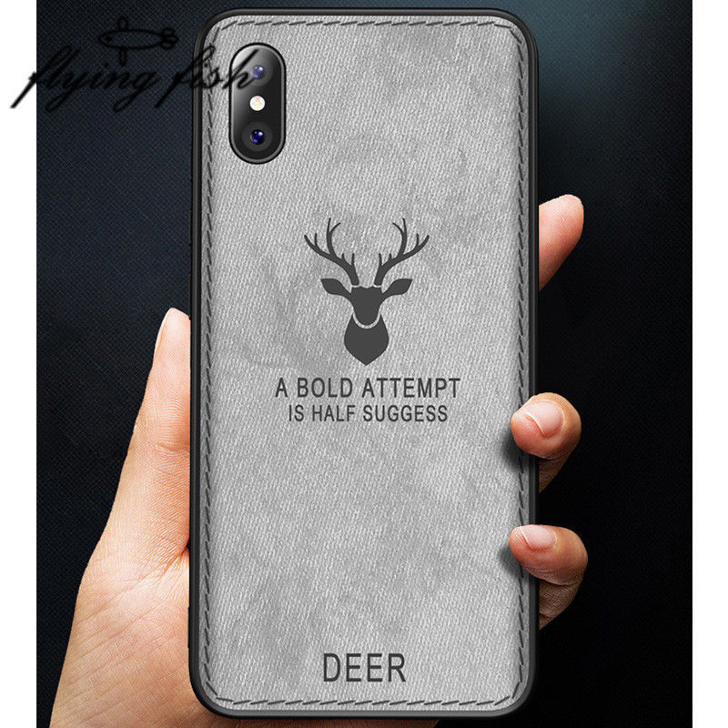 Cloth Luxury Canvas Case For iPhone XS Max XR Elk Deer Soft TPU+Hard PC Hybrid Cover For iPhone X 6 6S 7 8 Plus Cases iPhone