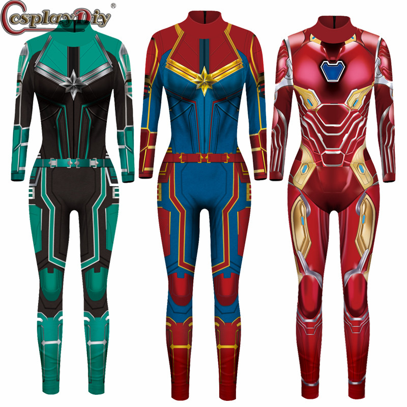 Cosplaydiy Captain Marvel Cosplay Costume Carol Danvers Superhero Halloween Costumes Ms. Marvel Jumpsuits Zentai Bodysuit
