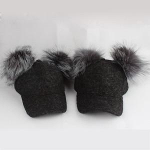Image 5 - Real Silver Fox Fur Pompom Winter Hat For Women Kids Cartoon Two Pom Poms Baseball Caps Brand Snapback Hip hop Hat Cap