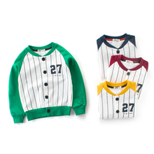 2019 New Fashion Striped Bomber Jackets For Boy Girl Children Outdoor Baseball Uniform Windbreaker Baby Kids Outerwear Coats hot sale 2016 new style letter fashion children boy girl baseball uniform 100% cotton active kids clothes set