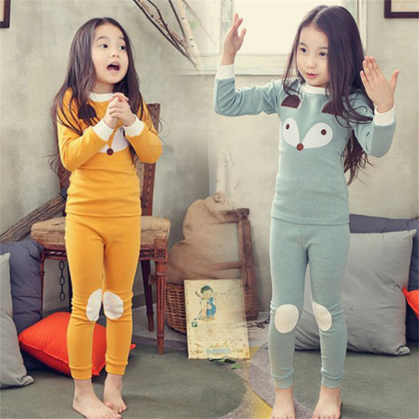 2-10 y children pure cotton   pajama     sets   pyjama kids girls sleepwear cartoon fox   pajamas   kids girls   sets   home clothes