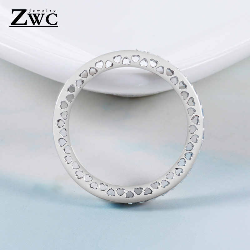 60e18fd0c ... ZWC Fashion Charm Crystal Silver Finger Rings for Women Men Mother's  Day Radiant Hearts Light Pink ...