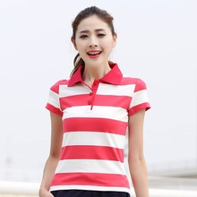 female shirt New striped short-sleeved Workwear custom work female culture POLO Guanggu Shan Long woman T066