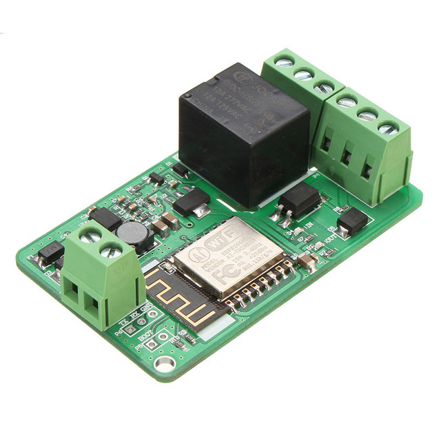New Green ESP8266 10A 220V Network Relay WIFI Module Input DC 7V~30V 65x40x18mm New Electric Unit Module
