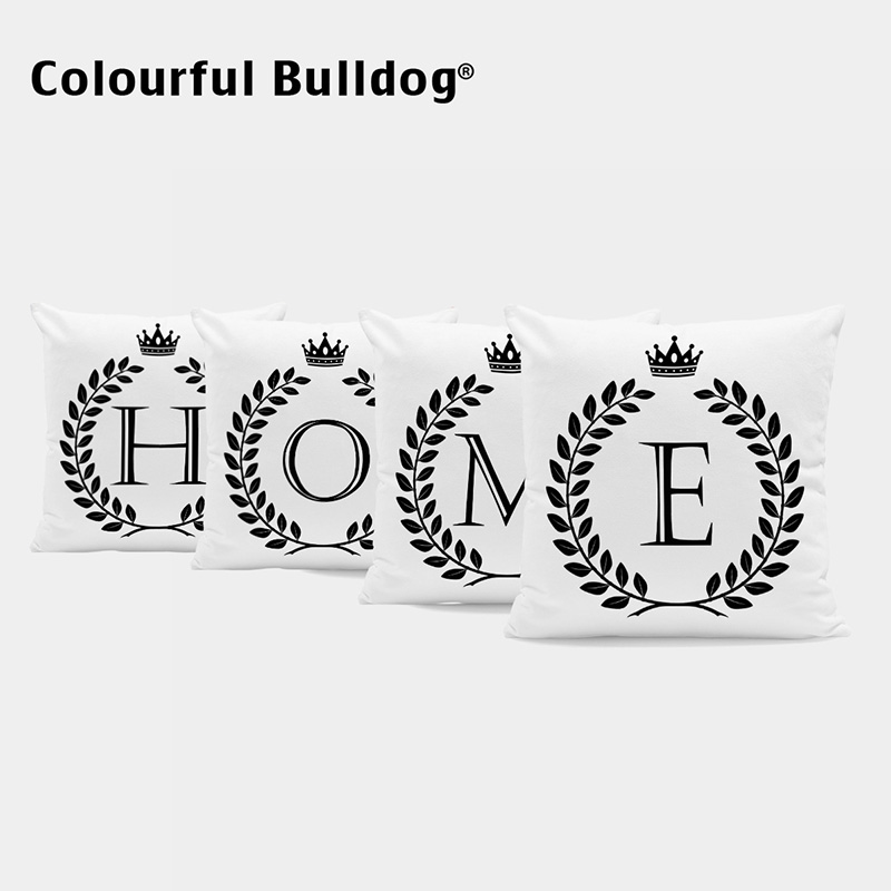 Designer Black And White Custom Letters Cushion Covers Wreath Pillow Case Cover Wedding Baby Birth Gifts Throw Pillow Covers ...