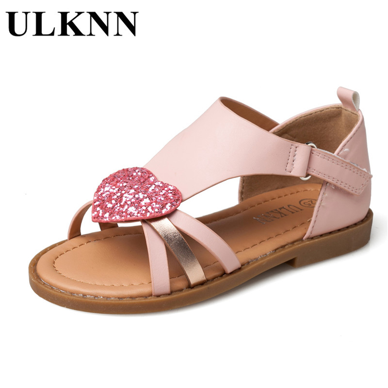 Aliexpress.com   Buy ULKNN Children Shoes Girls Sandals Red Heart Shaped  Pink Cut outs Sandals Flat Open toe School Shoes Breathable Kids Sandals  from ... 1c0637421acd