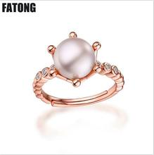 Fashion new 925 sterling silver six-claw-inlaid pearl opening ring female jewelry direct sales. J042