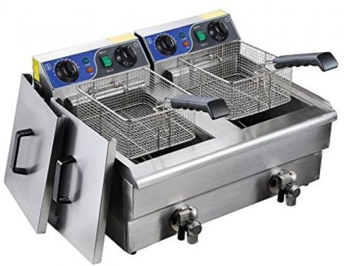 20L Commercial Deep Fryer Stainless Steel Dual Tank with Digital Timer and Drain in Electric Deep Fryers from Home Appliances