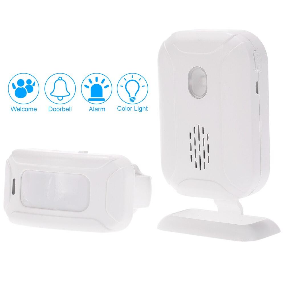 imágenes para Dividida Bienvenido Invitado Timbre inalámbrico Sistema de Alarma Del Sensor PIR de Detección de Movimiento con el Receptor y el Transmisor Para la Seguridad Casera
