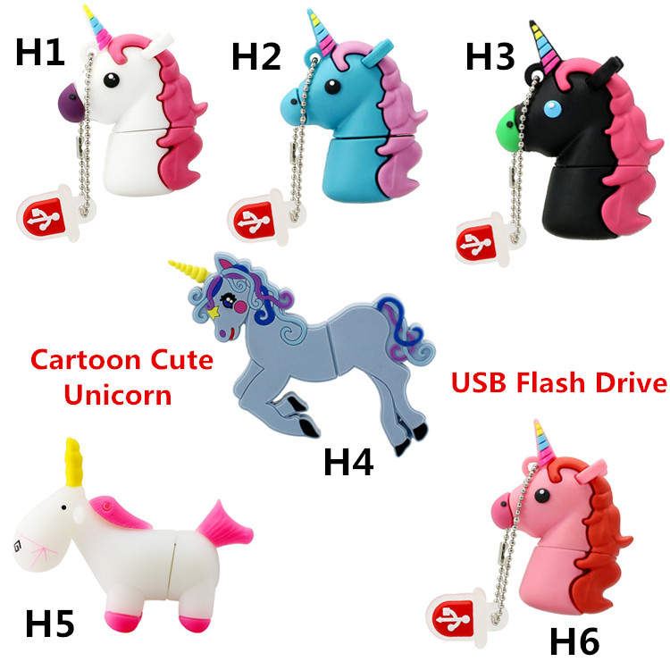 New Style Cartoon Unicorn USB Flash Drives Real Capacity Horse Pen Drive 8GB 16GB 32GB 64GB Minions Memory Stick Pendrive