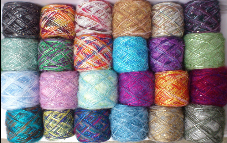 New Segment dyeing Mixed color thin Thread Mohair natural soft silk milk cotton Yarn With Sequins 100g