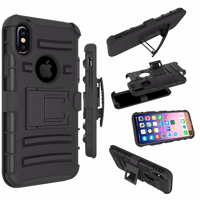 Case For Apple iPhone X Case Hybrid Impact Dual Layer Kickstand Hard PC + Soft Silicone Case Robot Belt Clip Cover Capa Caque