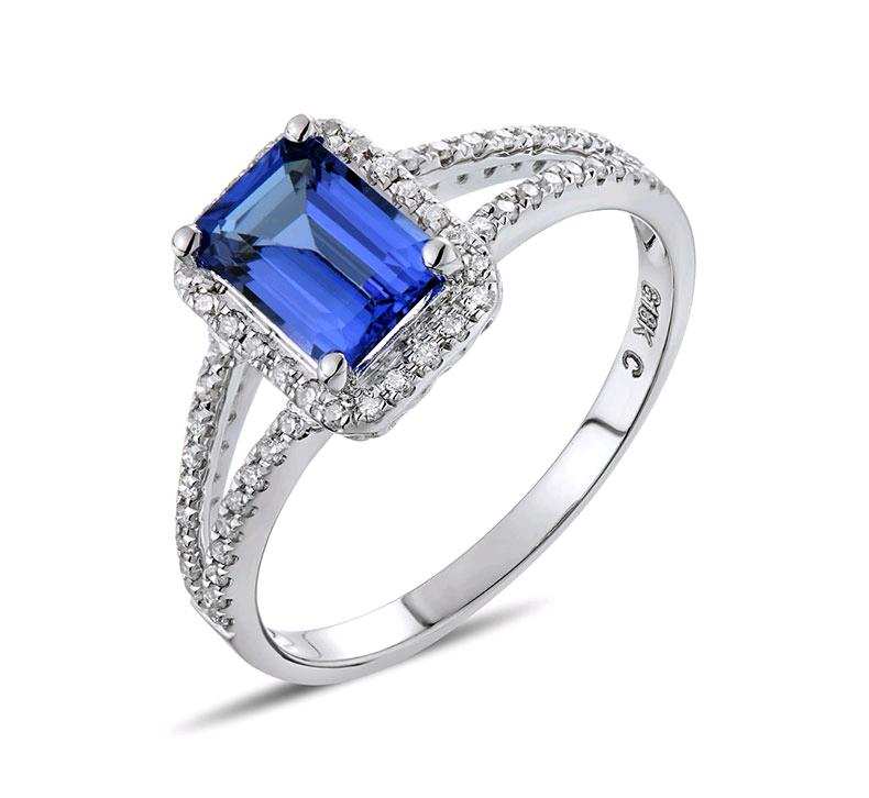0.7 carat 925 sterling silver diamant ring sapphire tanzanite wedding engagement jewelry US size from 4.5 to 9 (LA)