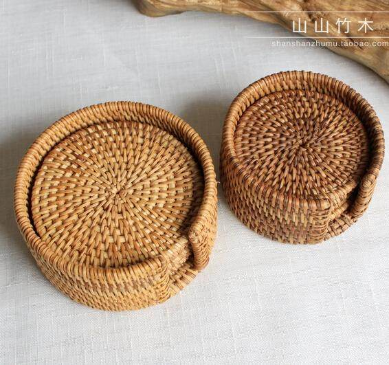 AuBergewohnlich Rattan Cup Coasters Set Pot Pad Table Mat 6 Sizes Porta Copos Placemats  Home Decoration Vintage Bamboo Handmade