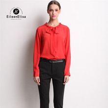 Red Shirt Women 2016 Runway Casual Blouse With Bow