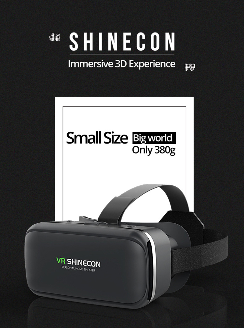 Original VR shinecon 6.0 headset version virtual reality glasses 3D glasses headset helmets smart phones Full package+GamePad 13