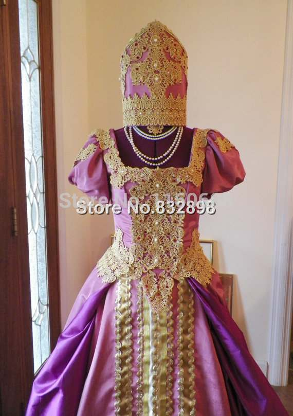 Catherine The Great Russian Slavic Court Theater Gown Dress Costume And Kokoshnik Headdress Custom Made To Fit Your Measurements In Dresses From Womens