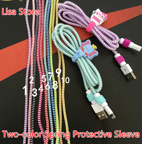 double colors plastic spring protective sleeve mobile tablet spiral cord protector for cell phone iphone charger