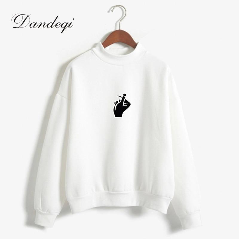 2018 Autumn Winter Women Casual Thick Warm Cute Gesture Printed Hoodies Sweatshirts Long Sleeve Harajuku Kawaii Moletom Coats