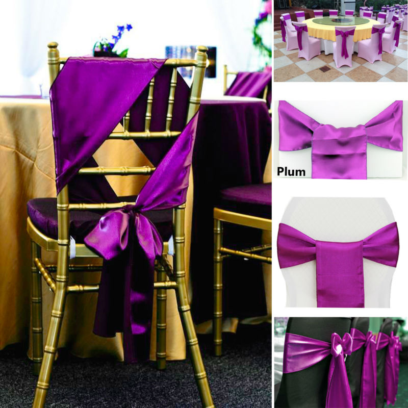 25pc Lot Satin Chair Sashes Bow Tie Bands For Hotel Banquet Dining Diy Wedding Christmas Decoration Cover Knot In Party Decorations From