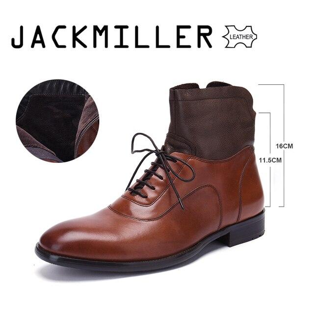 Jackmiller トップブランド本革メンズブーツ春秋のアンクルブーツファッションシューズレースアップ靴男性ビジネスの男性の靴