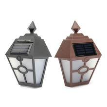 White Light Solar Powered Mount LED Solar Light Outdoor Lighting Garden Path Landscape Fence Yard Wall Lamp Brown/Black