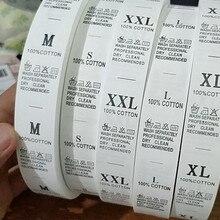 200 шт распродажа белые этикетки для ухода печатные бирки с покрытием ленты размер этикетки для стирки S-XXL хлопок