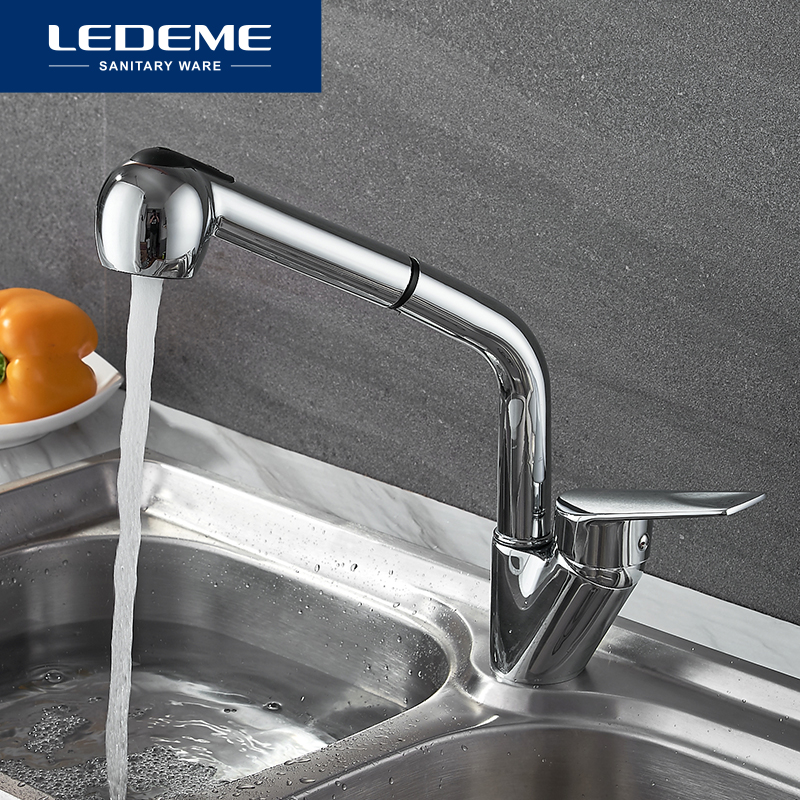 LEDEME Kitchen Faucet Kitchen Pull Out Single Hole Ceramic Plate 360 Rotate Contemporary Faucet Sink Cold/Hot Water L6040LEDEME Kitchen Faucet Kitchen Pull Out Single Hole Ceramic Plate 360 Rotate Contemporary Faucet Sink Cold/Hot Water L6040