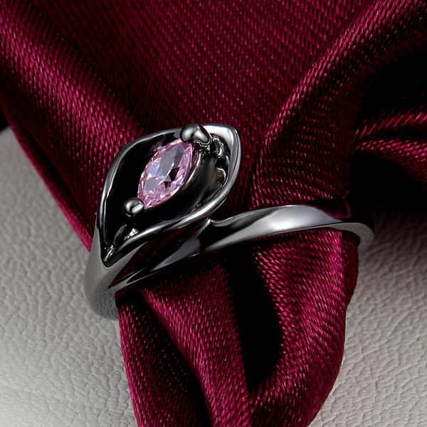 أعلى جودة الذهب خاتم ثعبان الوردي تشيكوسلوفاكيا كريستال الذهب الأسود معبأ المشاركة خواتم الزفاف للنساء خمر الشرير الأسود خواتم AR603