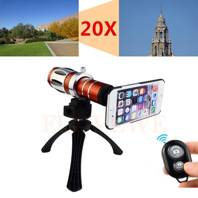 20x Zoom Óptico Lente Telefoto Telescópio Tripé Titular Lentes Da Câmera Do Telefone Para samsung iphone 4 4s 5 5s 6 6 s 7 plus com casos