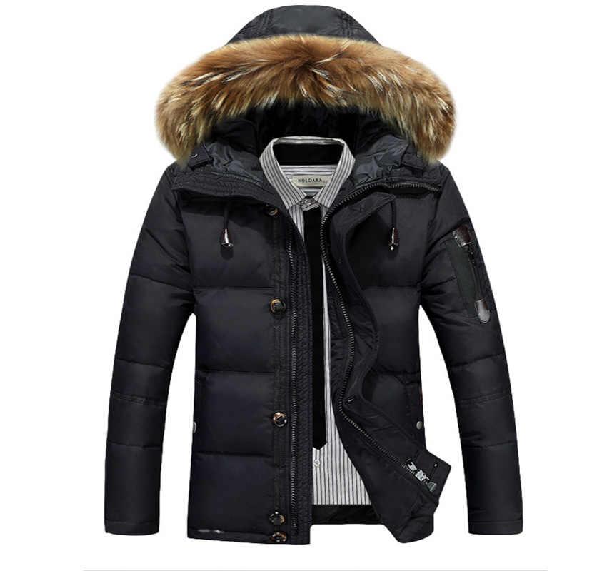 ホット販売 2018 新メンズダウンジャケット冬厚く暖かいファッションパッチワーク男性のコートフード付きメンズホワイトダックダウンコート wc120